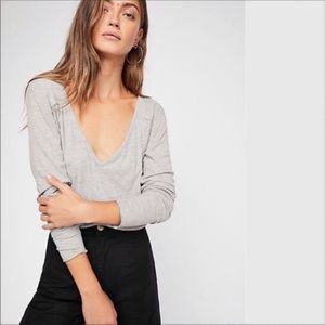 Free People Rock The Boat Gray Tee Size XS
